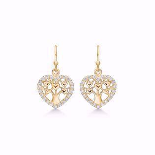 GSD Tree of Life earrings in gold-plated sterling silver with white zirconia, model 1910-1-F