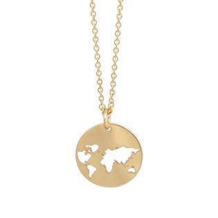 GSD gold-plated pendant with world map, model 30060-F