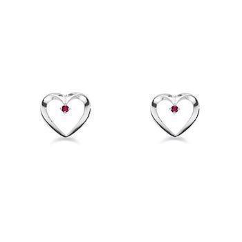 GSD heart earrings in 14 carat white gold with red rubies, model 5545-14HV