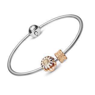 Christina Watches silver bangles with goldplated silver daisy