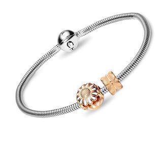 Christina Watches silver bracelet with goldplated silver daisy, 16 cm