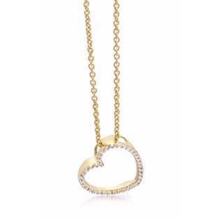GSD heart pendant with 45 cm chain and white zirconia, model 7382-08