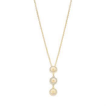 3 x 11 mm daisy necklace in gold-plated sterling silver, model 902011-3-L-M
