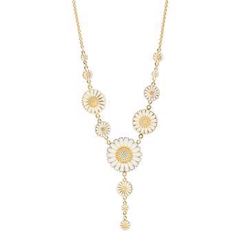 Lund Copenhagen daisy silver necklace with 24 carat gold-plated surface with white enamel, model 902025-M