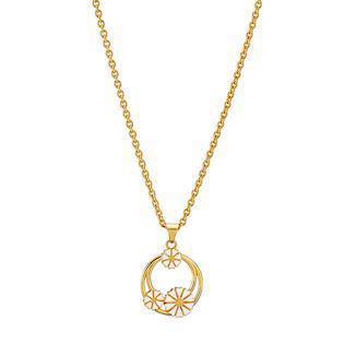 Lund Copenhagen gold-plated necklace with daisy pendant, model 9025010-M