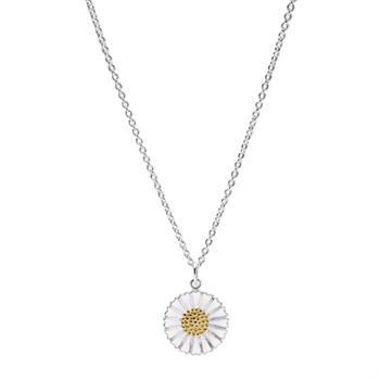 Lund Copenhagen daisy necklace in sterling silver with gold-plated detail, model 9025018-HM