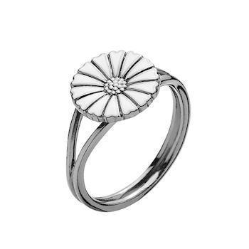 Lund Copenhagen black marguerite ring with white enamel, model 907011-H-RH