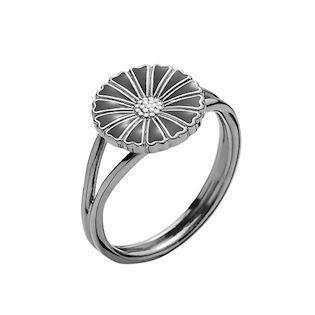 Lund Copenhagen black marguerite ring with black enamel, model 907011-S-RH