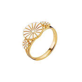 Lund Copenhagen gold-plated ring with white zirconia, model 9075011-30-M