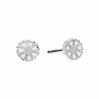 Lund Copenhagen daisy earrings with white enamel, model 909050-4-H