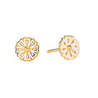 Lund Copenhagen gold-plated daisy earrings, model 9095006-4-M