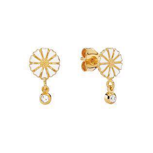 Lund Copenhagen gold-plated earrings with zirconia (7,5 mm), model 9095013-4-30-M