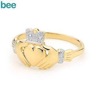 9 carat Crowned Claddagh ring with diamonds