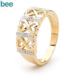 Cubic Zirconia Fun Ring in 9 ct gold