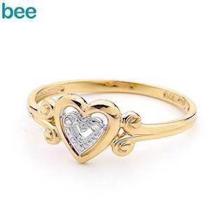 9 ct gold heart ring with 1 pcs 0,005 ct diamond