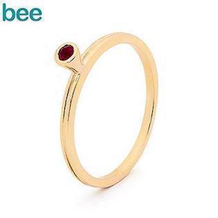 Bee Jewelry gold ring in 9 kt. with red ruby