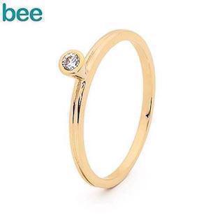 Bee Jewelry gold ring in 9 kt. with white zirconia