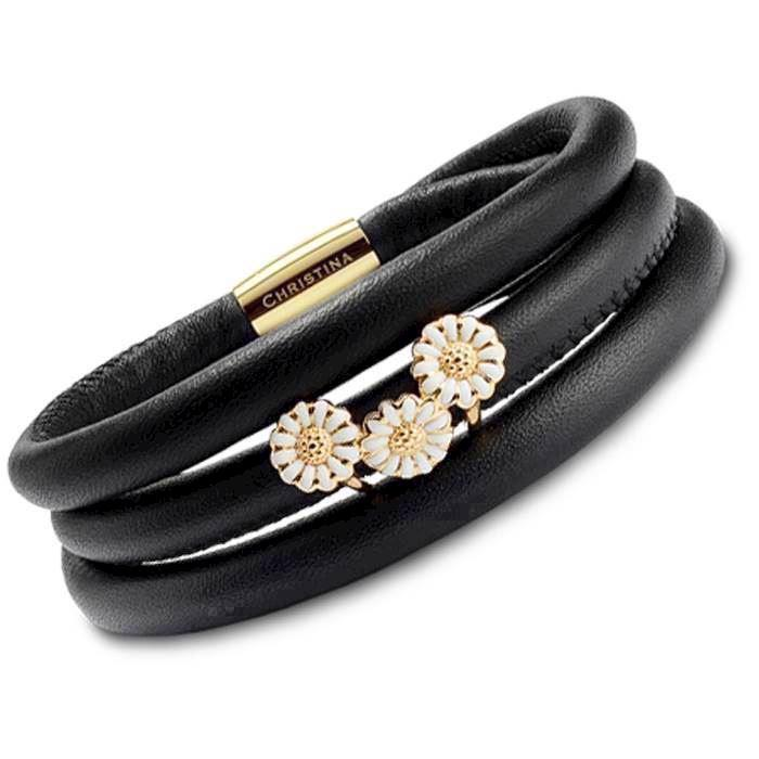 5fcb44b7f489 Christina Watches black leather bracelet with golden silver daisy