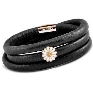 Christina Watches black leather bracelet with golden silver daisy