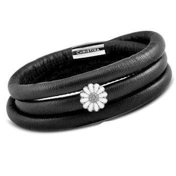 Christina Watches black leather bracelet with silver daisy
