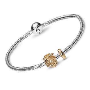 Christina Watches silver bracelet with goldplated silver rose, 16 - 23 cm