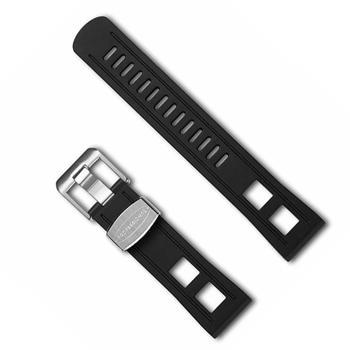 Crafter Blue Black luxury rubber watch strap, 22 mm wide, 200 mm long and choose from, silver, gold or black buckle
