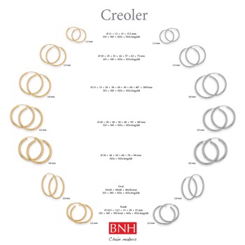 Popular Creoles in silver, gold plated & gold up to 11 sizes from Ø 11 - Ø 100 mm
