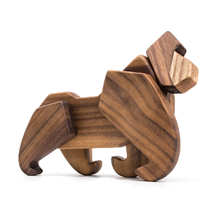 Fablewood Gorilla - The King of the Jungle - wooden figure composed of magnets