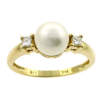 14 karat pearl ring with diamonds, model E010792