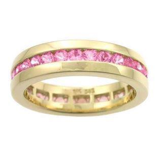 Houmann Alliance ribbon 14 carat gold ring with pink sapphire, model E013809x