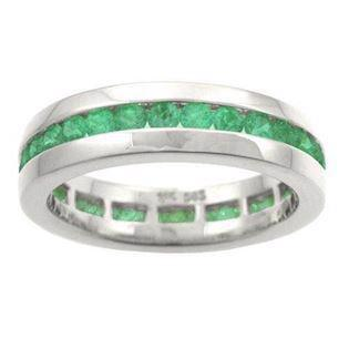 Houmann Alliance ribbon 14 carat white gold finger ring with 32 tsavorites, model E013806x