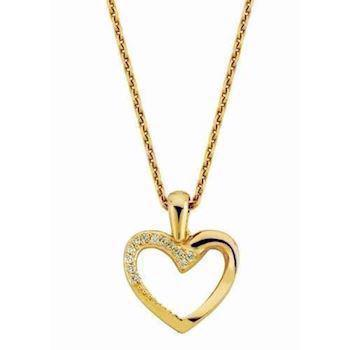 14 carat heart pendant with 0,06 ct diamonds