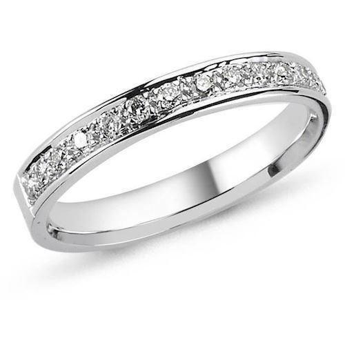 14 carat white gold ring String ring from Nura with 0,01 - 0,35 carat diamonds