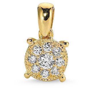 Coronet pendant in 14 ct gold with 0,11-0,37 ct diamonds