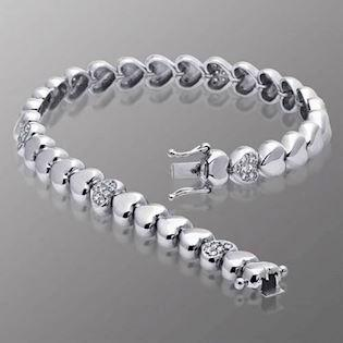14 ct whitegold diamond heart bracelet