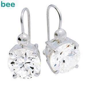 Big Cubic Zirconia silver hook on earrings