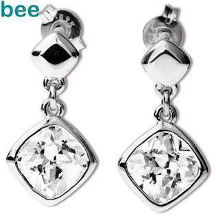 Silver Drop Earrings with Cubic Zirconia