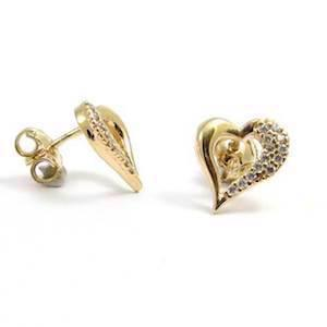 Hearts earrings in Italian design w/ zirkonia