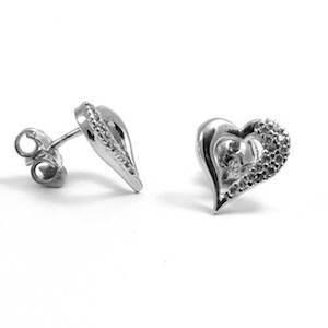 White gold Hearts earrings in Italian design w/ zirkonia