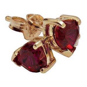 9 ct heart shaped created ruby Stud Earrings