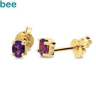 9 ct Oval Amethyst Stud Earrings