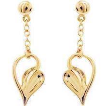 9 ct gold droopy heart earrings