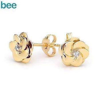 Diamond Set Camelia Earrings in 9 ct gold
