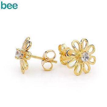Gold Stud Flower Earrings with Zirconia