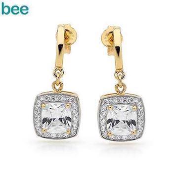 Gold Earrings with Cubic Zirconia Ballroom