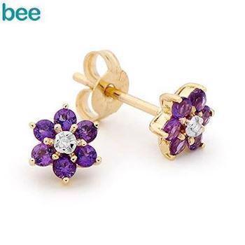Amethyst Flower Gold Earrings with diamonds