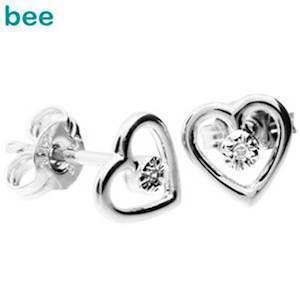 9 ct whitegold heart ear studs with diamonds