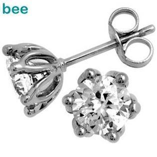 White Gold Cubic Zirconia Studs