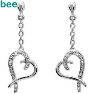 Whitegold Diamond Set Heart Drop Earrings