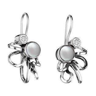 Rabinivich 45216501, Silver earrings with pearls